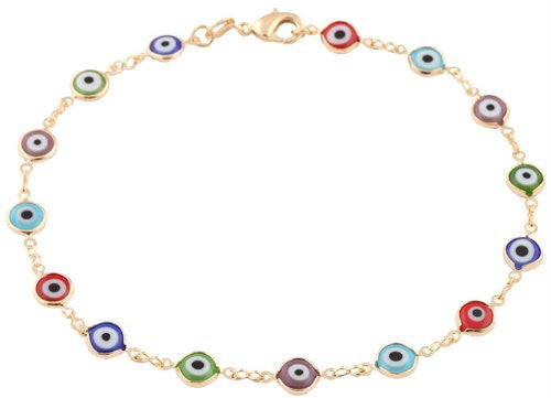 Gold Overlay With Multi Colors Mini Evil Eye Anklet