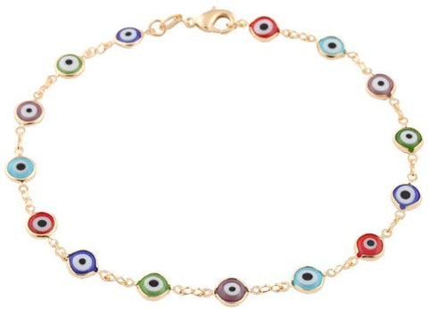 Two Year Warranty Gold Overlay With Multi Colors Mini Evil Eye Style 9.5 Inch Anklet