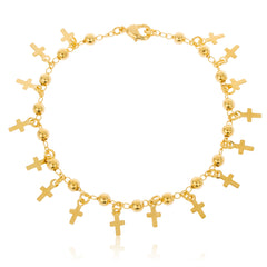 Two Year Warranty Gold Overlay With Multi Cross And 3mm Ball 7 Inch Link Bracelet
