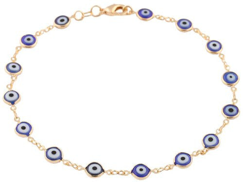 Two Year Warranty Gold Overlay With Navy Blue Mini Evil Eye Style 10 Inch Anklet