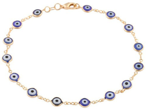 Gold Overlay With Navy Blue Mini Evil Eye Anklet