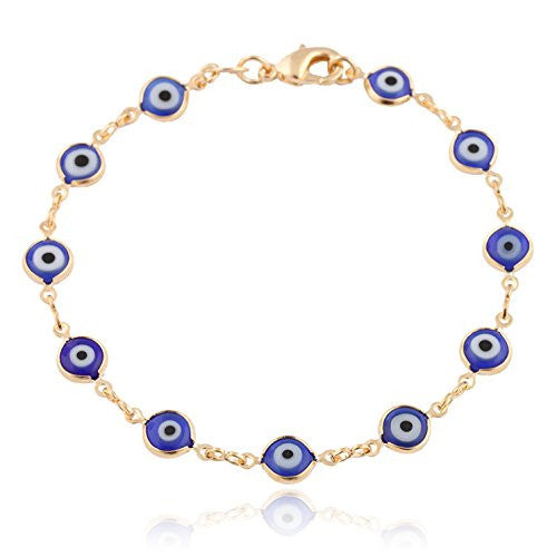 Gold Overlay With Navy Blue Mini Evil Eye Bracelet