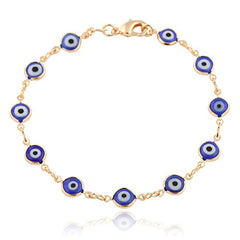 Two Year Warranty Gold Overlay With Navy Blue Mini Evil Eye Style 7.5 Inch Clasp Bracelet