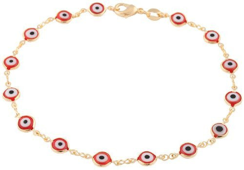Gold Overlay With Red Mini Evil Eye Anklet
