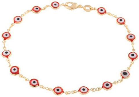 Two Year Warranty Gold Overlay With Red Mini Evil Eye Style 10 Inch Anklet