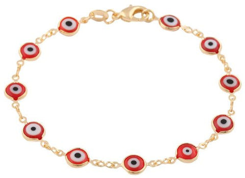 Two Year Warranty Gold Overlay With Red Mini Evil Eye Style 7.5 Inch Clasp Bracelet