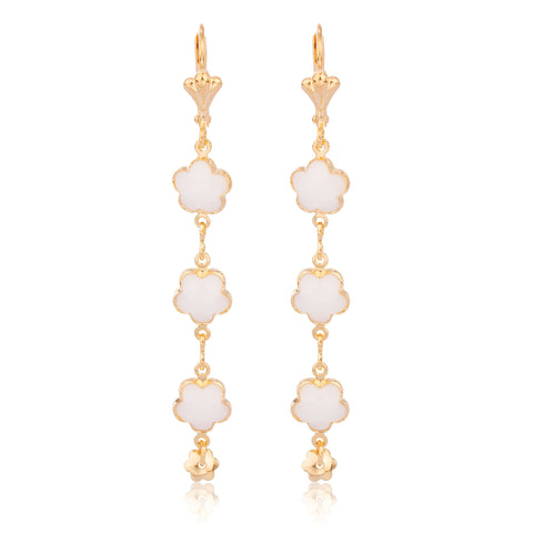 Two Year Warranty Gold Overlay With White Dangling Flower Link Earrings