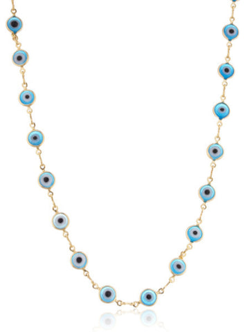 Two Year Warranty Ladies Gold Overlay With Light Blue Evil Eye 18 Inch Necklace