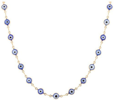 Two Year Warranty Ladies Gold Overlay With Navy Blue Evil Eye 18 Inch Necklace