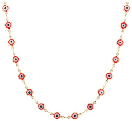 Two Year Warranty Ladies Gold Overlay With Red Evil Eye 18 Inch Necklace