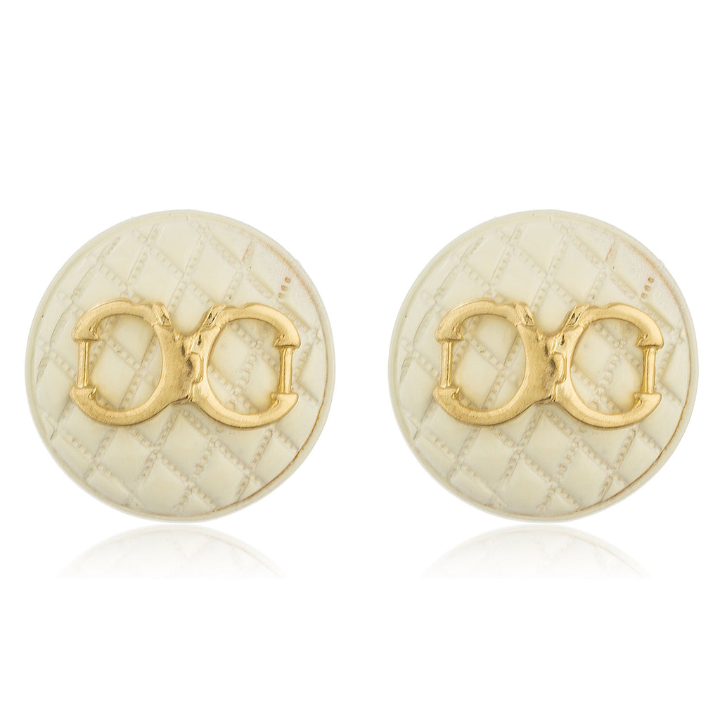 White Quilted Circle Shape With Goldtone...