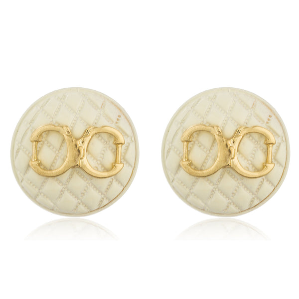 White Quilted Circle Shape With Goldtone Enamel Handcuff Stud Earrings