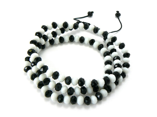 White With Black 30 Inch Cut 6mm Shamballa Glass Beaded Necklace Chain