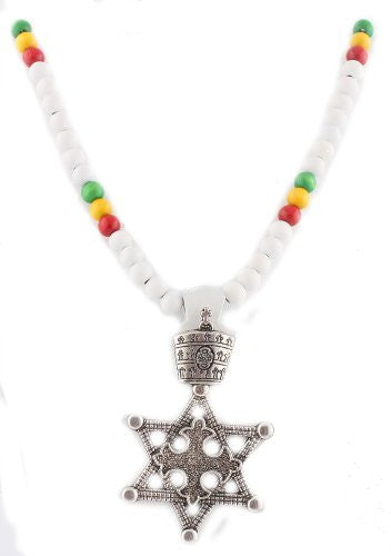 White With Silvertone And Multicolors Wooden Rasta Star Of David Pendant And 36 Inch Necklace Chain