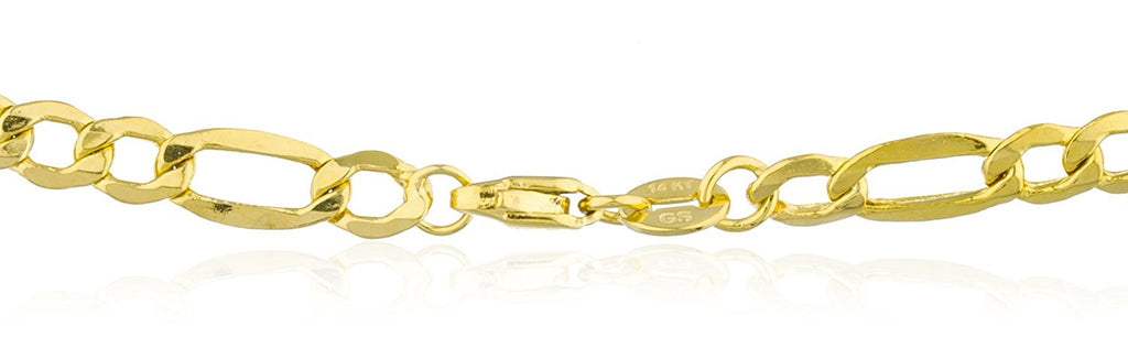 14K Yellow Gold 4.4mm Figaro Chain...