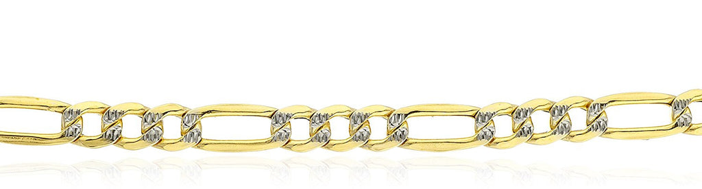 10k Yellow Gold 4mm Pave Figaro...