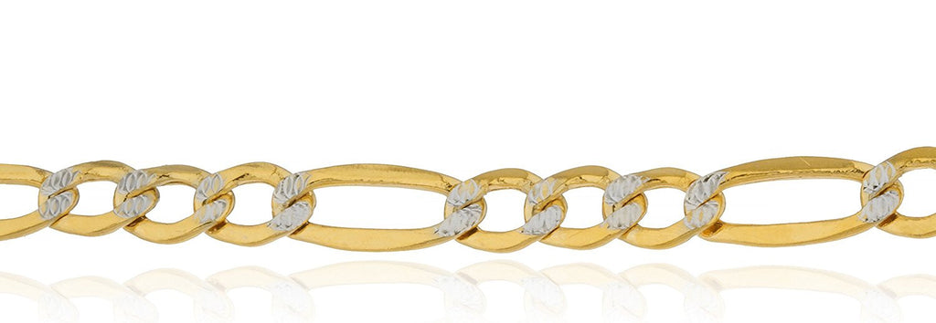 14k Yellow Gold 6.8mm Pave Figaro...
