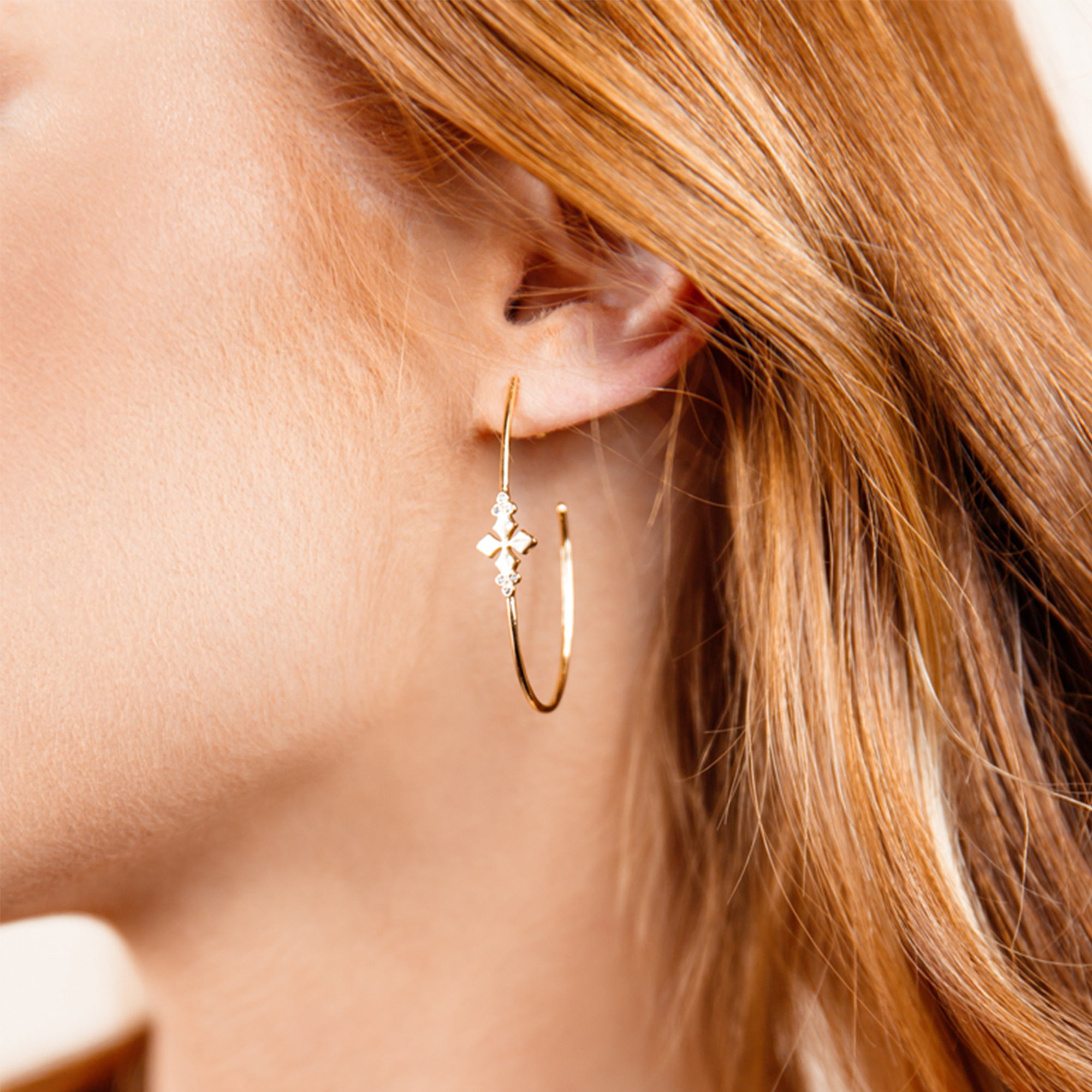Believer Cross Hoop Earrings