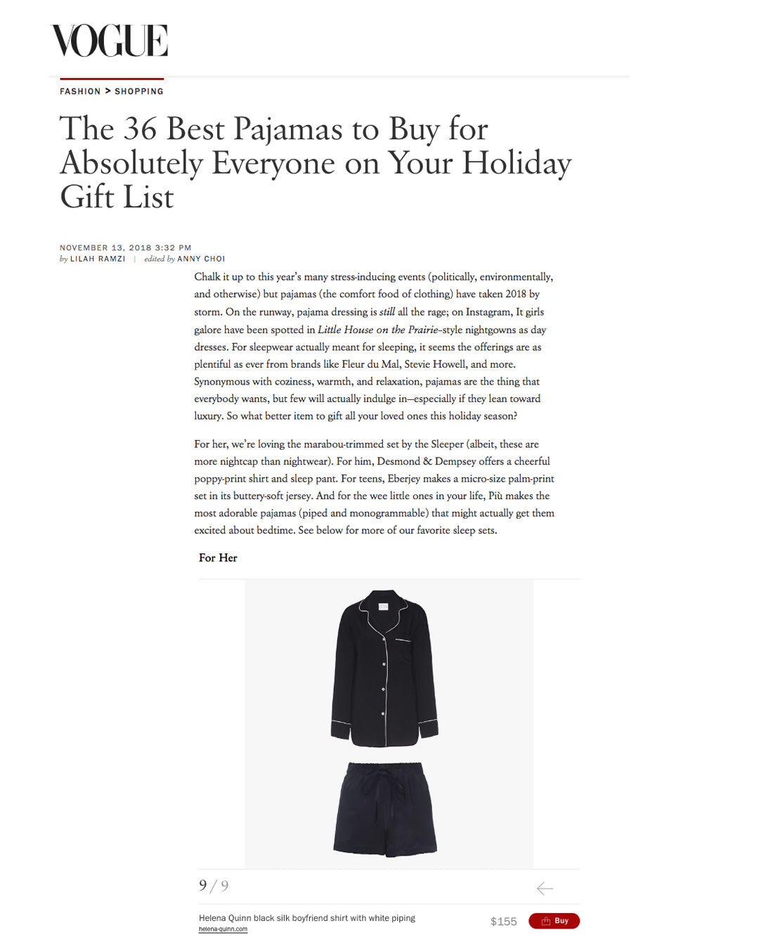 Helena Quinn / /  Vogue Magazine / / Black Silk Boyfriend Shirt