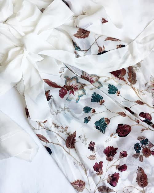 Helena Quinn / / white and berry print summer silk kimono robe