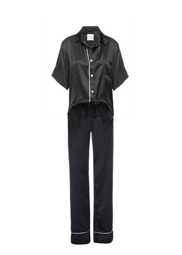 Silk Charmeuse Short Sleeved PJ Top + Pant Set: Black