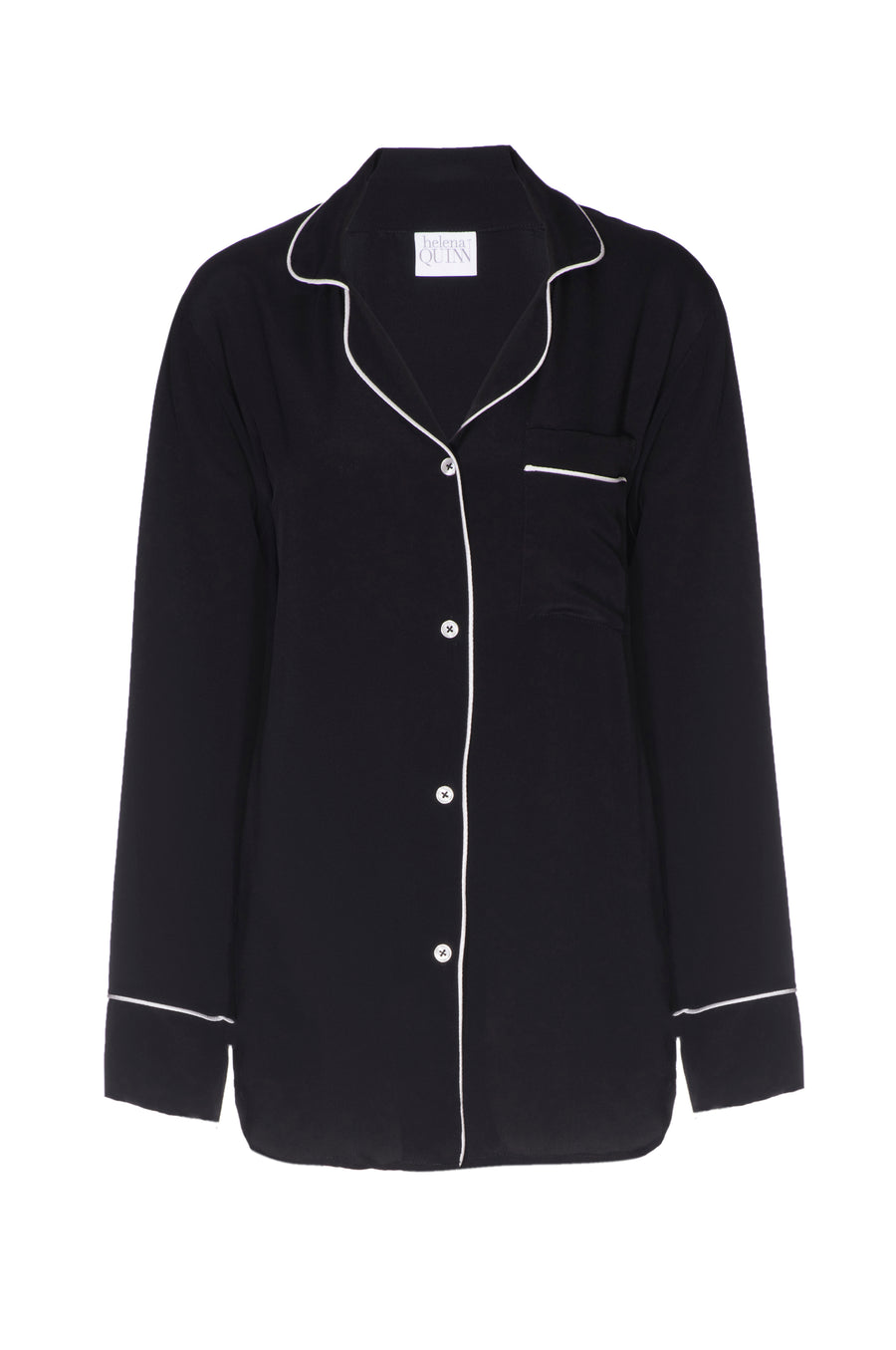 Silk Boyfriend Shirt: Black