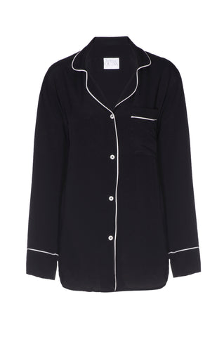 NEW: Black Silk Boyfriend Shirt with White Piping