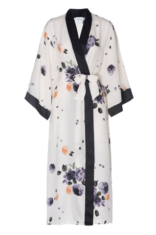 BEST SELLER: 'Garden' Floral Print Silk Robe with Black Silk Contrast- FULL LENGTH