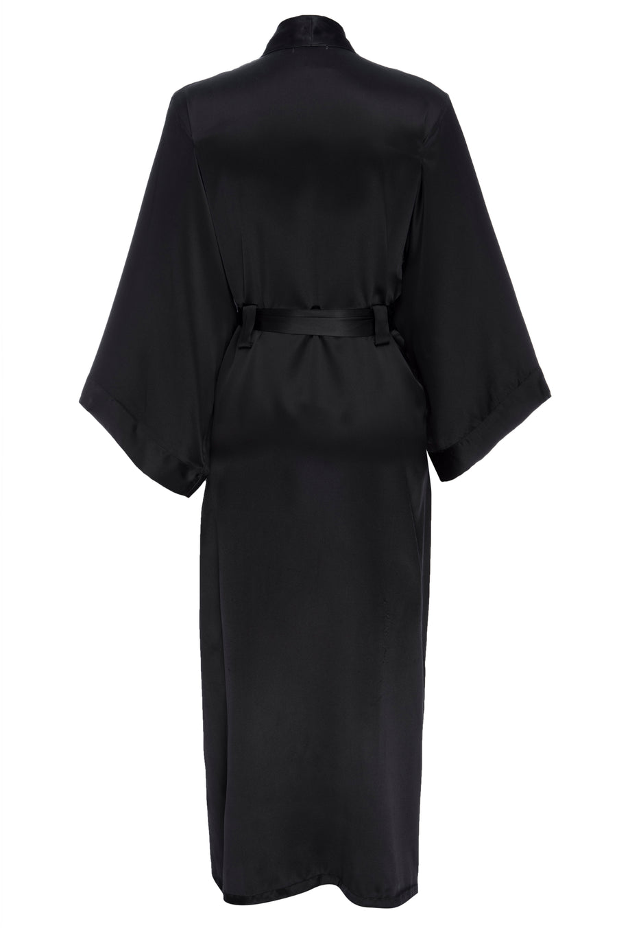 Silk Charmeuse Long Silk Robe: Black