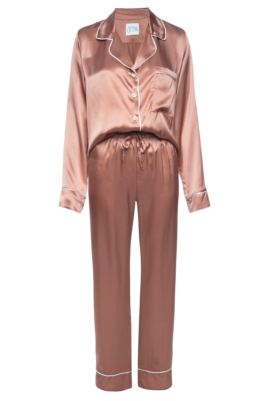 Silk Charmeuse Long Sleeved PJ Top + Pant Set: Apricot