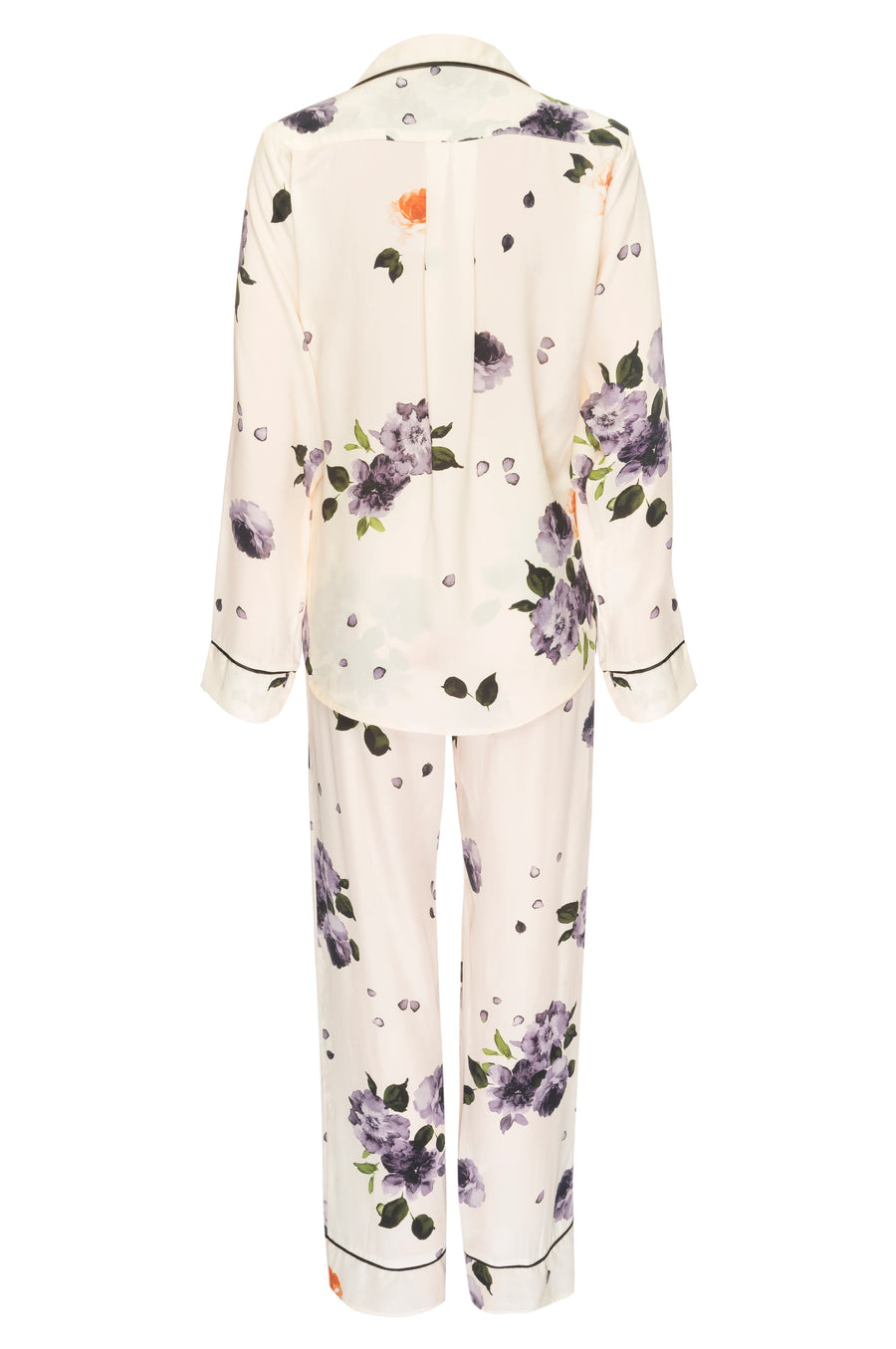 Silk Charmeuse Long Sleeved PJ Top + Pant Set: Garden Floral Print