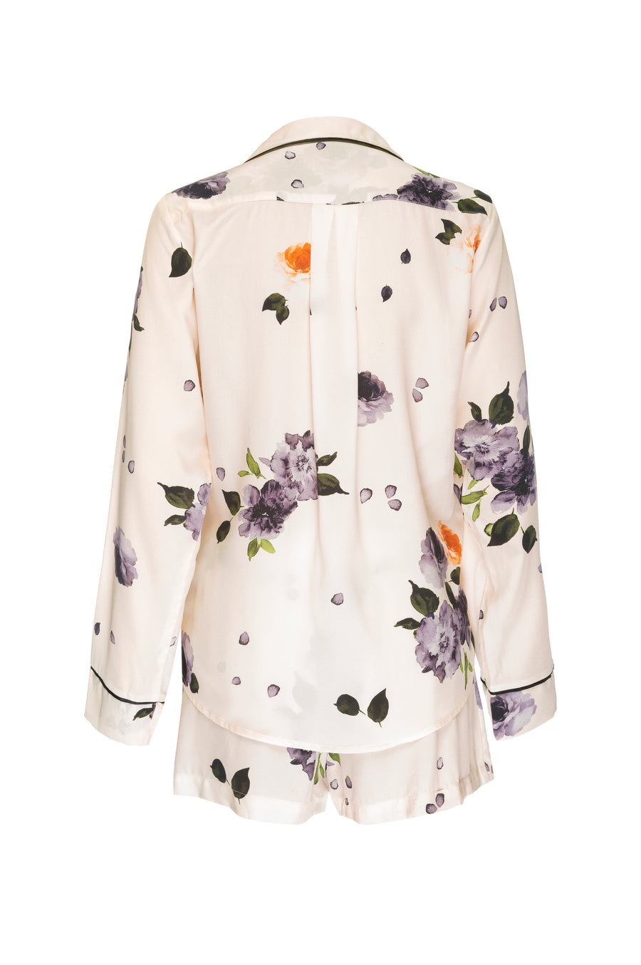 Silk Charmeuse Long Sleeved PJ Top + Short Set: Garden Floral Print