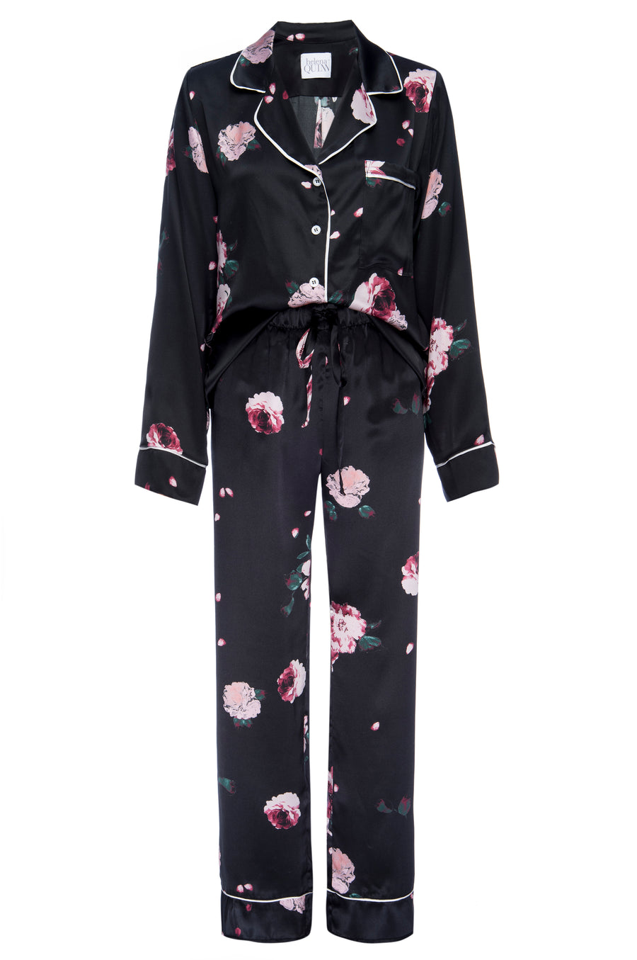 Silk Charmeuse Long Sleeved PJ Top + Pant Set: Black Rose Print