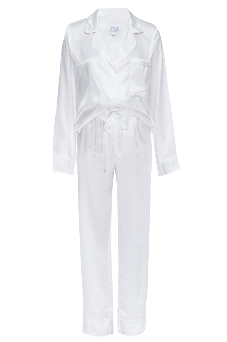 Silk Charmeuse Long Sleeved PJ Top + Pant Set: Ivory