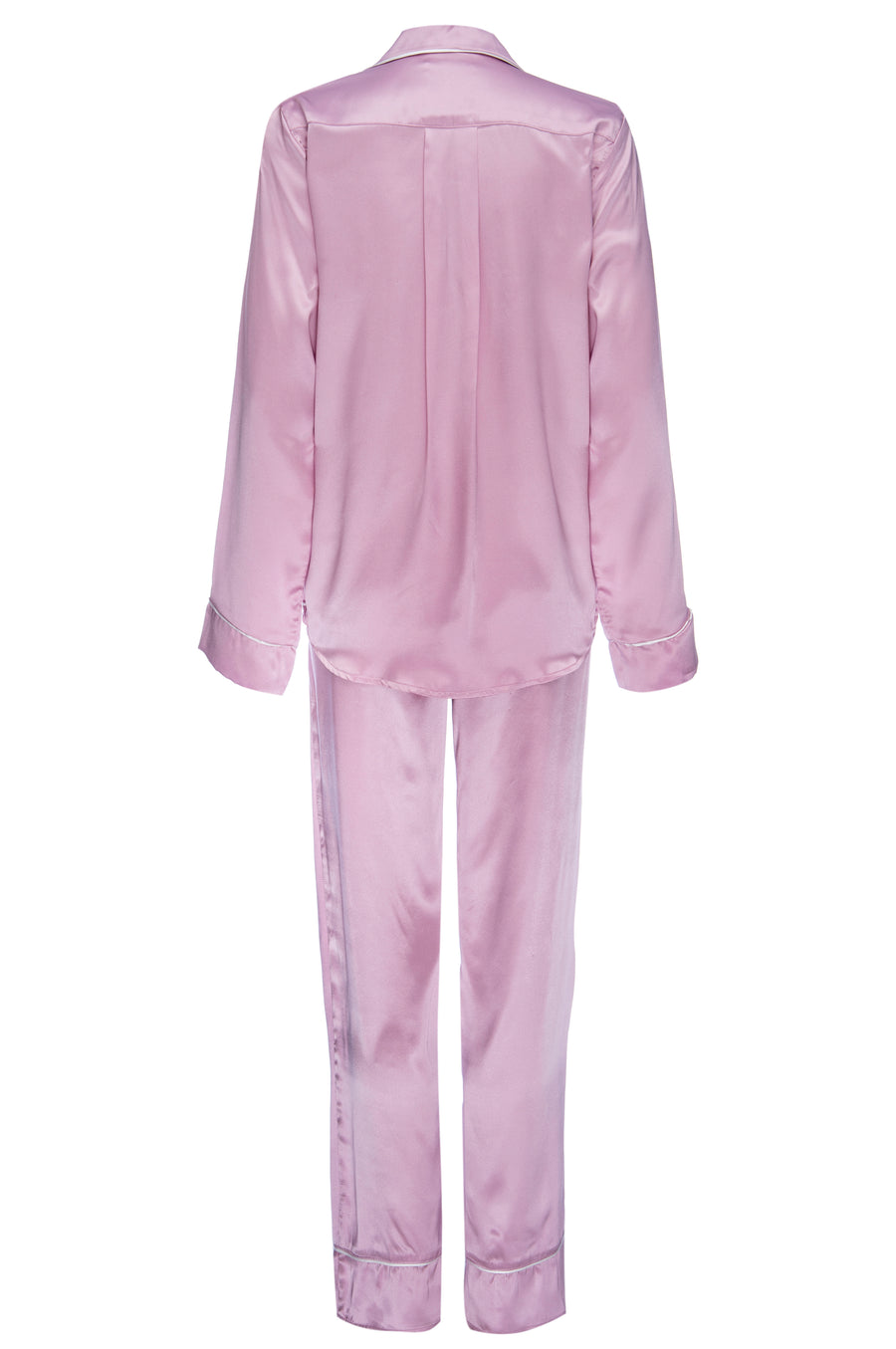 Silk Charmeuse Long Sleeved PJ Top + Pant Set: Orchid Pink