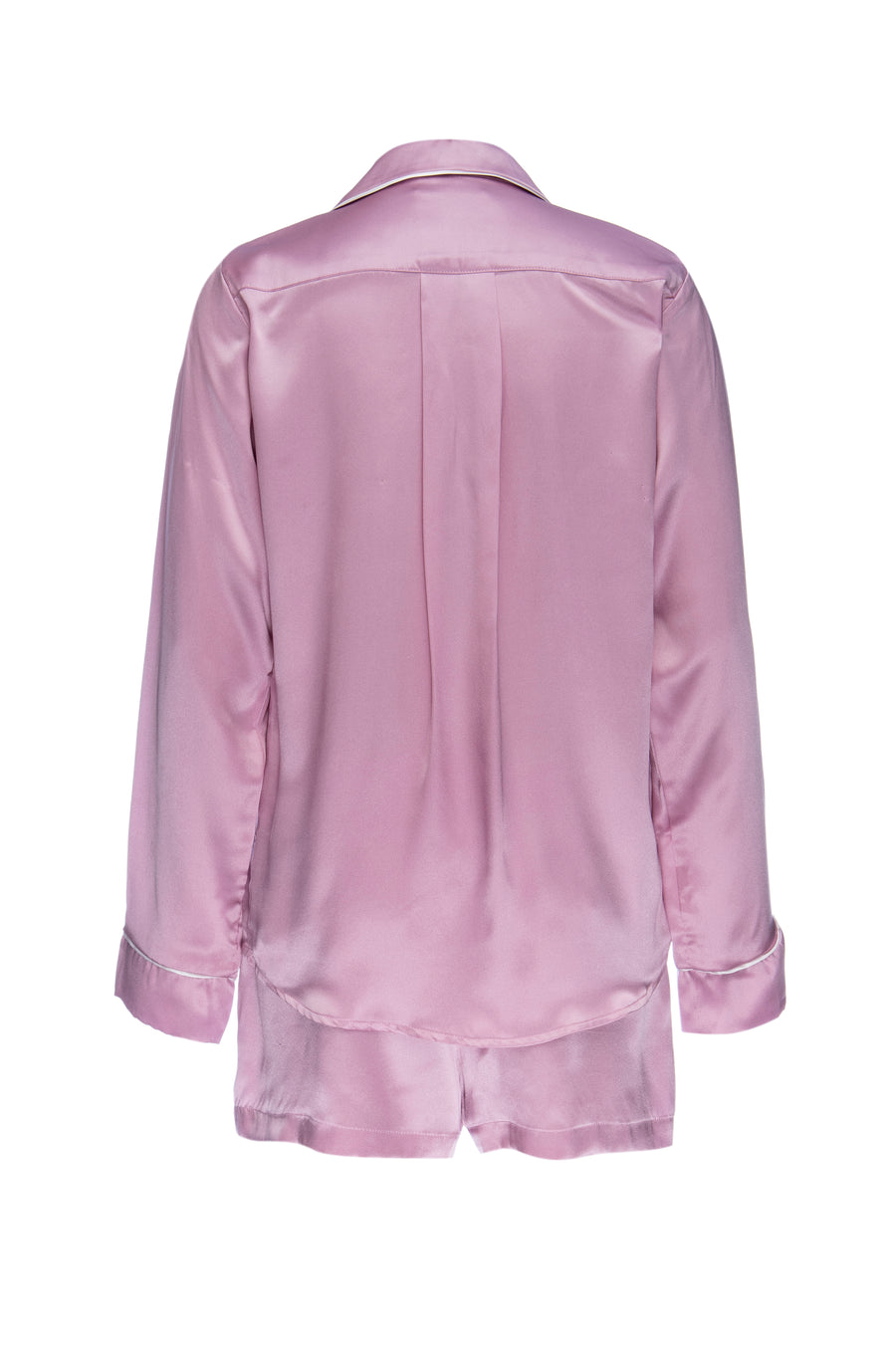 Silk Charmeuse Long Sleeved PJ Top + Short Set: Orchid Pink