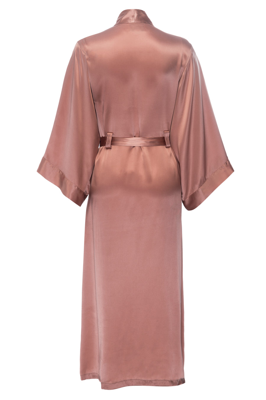 Silk Charmeuse Long Silk Robe: Apricot