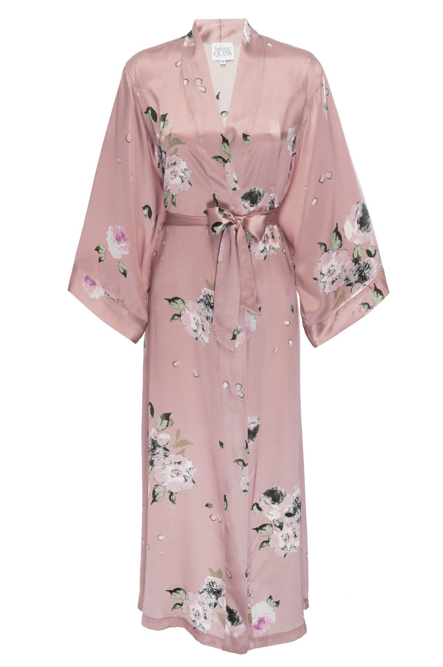 Silk Charmeuse Long Silk Robe: Champagne Floral Print Silk Robe