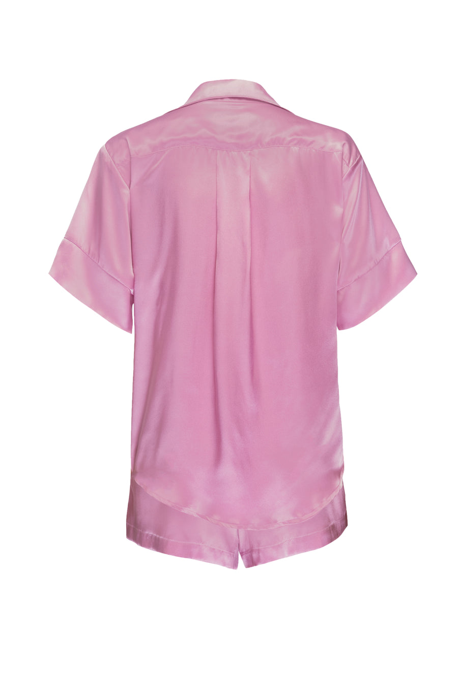 Silk Charmeuse Short Sleeved PJ Top + Short Set: Orchid Pink