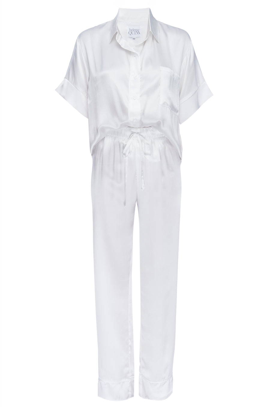 Silk Charmeuse Short Sleeved PJ Top + Pant Set:  Ivory