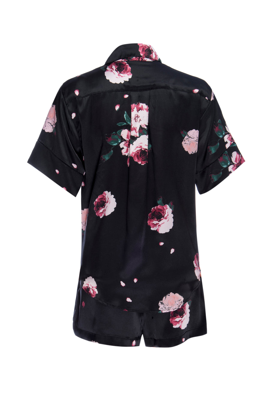 Silk Charmeuse Short Sleeved PJ Top + Short Set: Black Rose Print