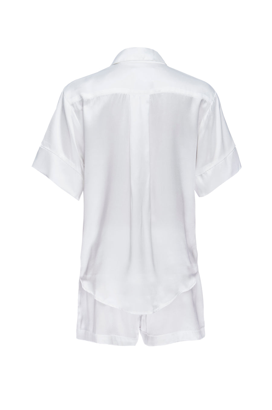 Silk Charmeuse Short Sleeved PJ Top + Short Set: Ivory