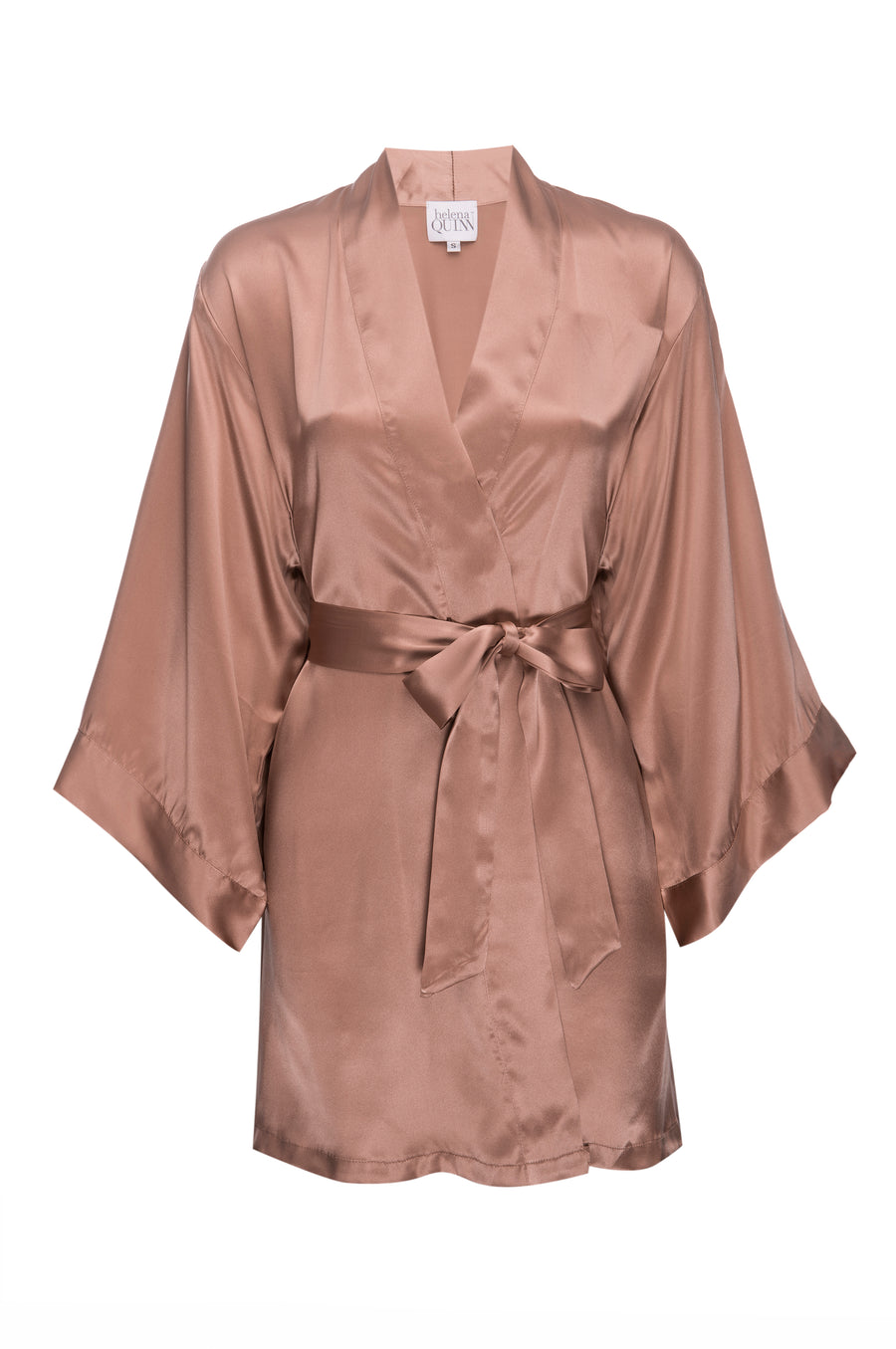 Silk Charmeuse Short Silk Robe:  Apricot