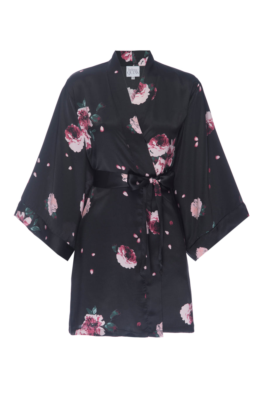 Silk Charmeuse Short Silk Robe: Black Rose Print