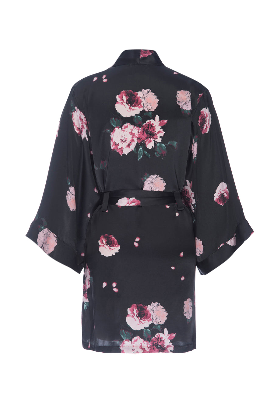 Silk Crepe de Chine Short Robe: Black Rose Print