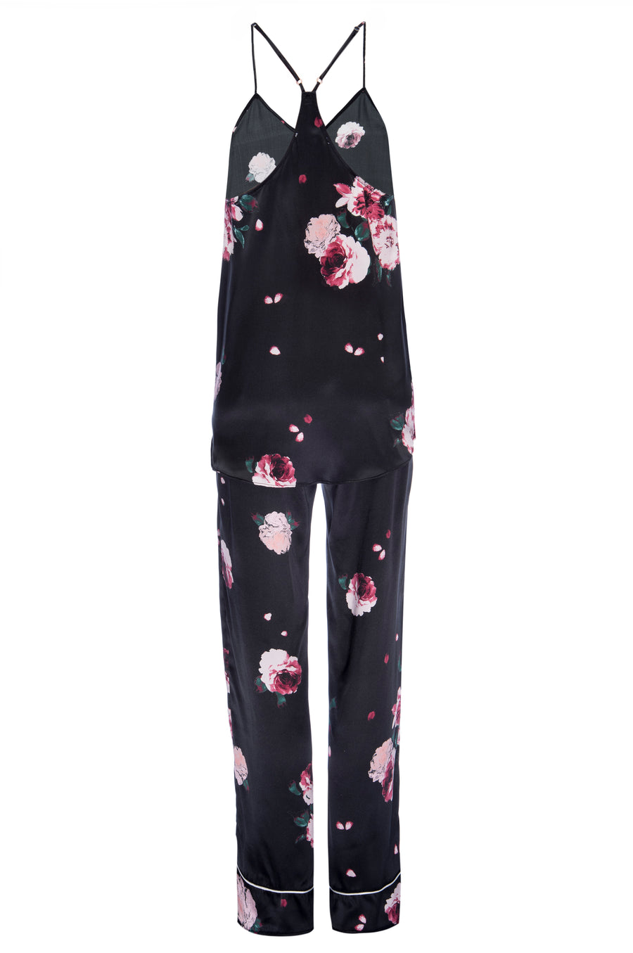 Silk Charmeuse Tank + Pant Set: Black Rose Print