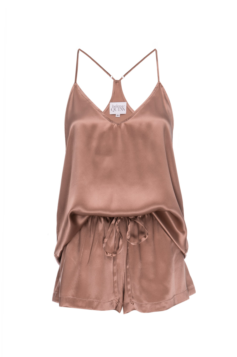 Silk Charmeuse Tank + Short Set: Apricot