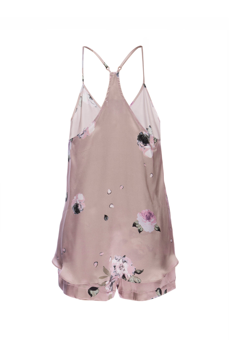 Silk Charmeuse Tank + Short Set: Champagne Floral Print