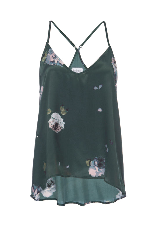 Silk Charmeuse Tank: Emerald Floral Print