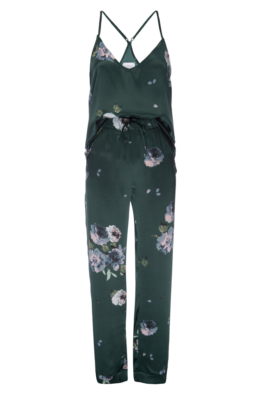 Silk Charmeuse Pants: Emerald Floral Print